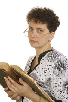 Free Curly Woman With Spectacles And Book Royalty Free Stock Images - 8521429