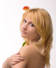 Beautiful Girl With Flower In Hair Stock Photography