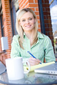 Free Business Woman Sitting At A Cafe Working Royalty Free Stock Photo - 8523605