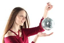 Free Young Woman With Glass Sphere Royalty Free Stock Photo - 8523715