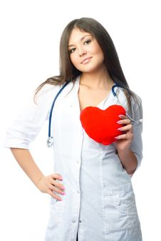 Cardiologist With A Heart Shaped Pillow Stock Photography