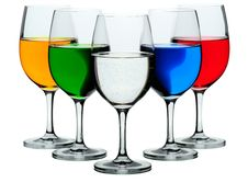Five Wine Glasses Stock Image