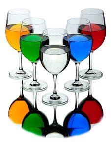 Five Wine Glasses Stock Photos