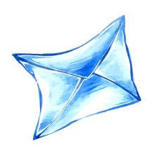 Drawing Of Blue Paper Envelope Royalty Free Stock Images