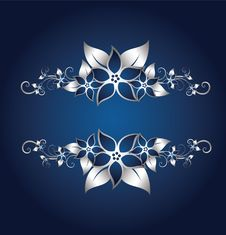 Free Silver Floral Frame Royalty Free Stock Photo - 8525745