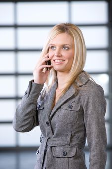 Free Business Woman Talking On Cell Phone Stock Image - 8525981