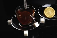 Free Glass Cup Of Tea With Lemon Stock Photos - 8526723