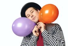 Mime With Two Balloons Isolated Stock Photo