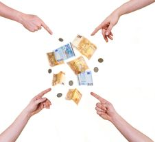 Four Hands Pointing At Money Royalty Free Stock Photo