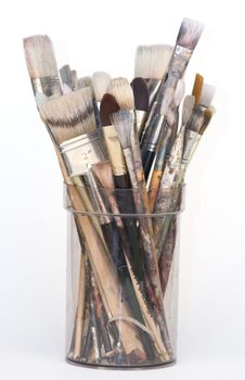Free Used Artist S Brushes In A Pot Stock Image - 8528891