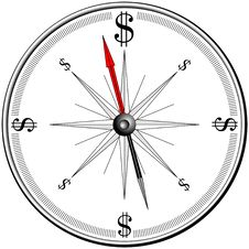 Free Magnetic Compass With Dollar Signs Royalty Free Stock Images - 8529159
