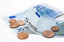 Free Euro Banknotes And Coins Royalty Free Stock Photos - 8529628