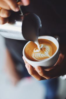 Free Adding Milk To Cappuccino Royalty Free Stock Images - 85221909