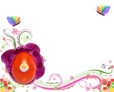 Free Easter Card With Red Decorated Egg And Butterfly Royalty Free Stock Image - 8530486