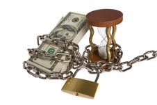 Free Dollars With Chain On White Stock Photos - 8532463