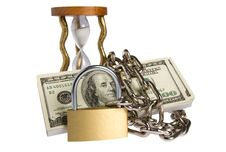 Free Dollars With Chain On White Stock Image - 8532471