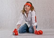 Free Girl With Boxing Gloves. Royalty Free Stock Image - 8532526