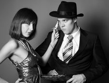 Couple Of Gangsters Royalty Free Stock Images