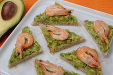 Sandwich With Avocado And Seafood Royalty Free Stock Photo