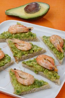 Sandwich With Avocado And Seafood Stock Image
