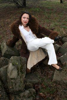 Free Smiling Woman In Sheepskin Coat Stock Photos - 8534083
