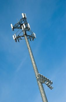 Free Cell Phone Tower With Sports Field Lights Stock Images - 8535044