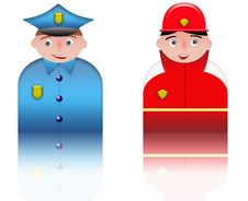 Free People Icons Policeman And Fireman Royalty Free Stock Photos - 8535318