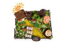 Free Big Birthday Cake With Animals In Courtyard Stock Photo - 8535430