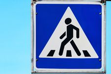 Road Sign On Pedestrian Crossing Royalty Free Stock Photos