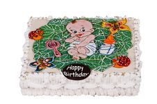 Free Big Birthday Cake With Child In Cabbage Stock Images - 8535474