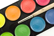 Watercolor Paints Set With Brush Royalty Free Stock Photography