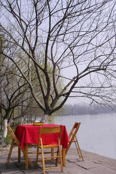 Free The Desk And Tree On Waterside Stock Photo - 8536610