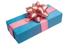 Blue Box With Gift And Bow, Is Tied Up By A Tape Royalty Free Stock Image