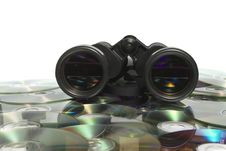 Field-glass On CD Stock Photography