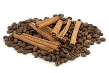 Coffee Beans With Cinnamon Sticks Royalty Free Stock Photo