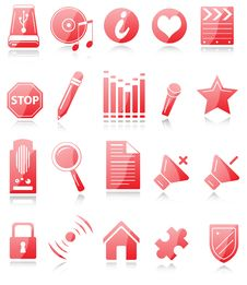 Free Red And White Icons Royalty Free Stock Images - 8538039