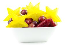 Colorful Starfruit With Strawberries And Grapes