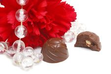 Chocolate And Flower Royalty Free Stock Photography