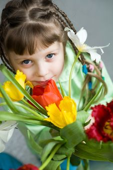 Free Girl With Bouquet Stock Images - 8539314