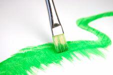 Paintbrush And Painted Brush Stroke Royalty Free Stock Photos