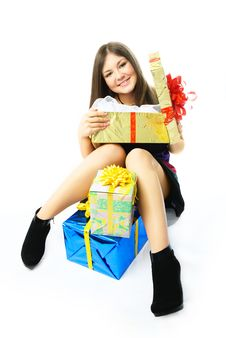 Happy Girl With Presents Royalty Free Stock Image