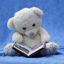 Free White Teddy Bear With Opened Book Photo Stock Image - 85360811