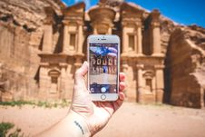 Free Person Taking Picture At Petra Jordan Stock Photo - 85361540