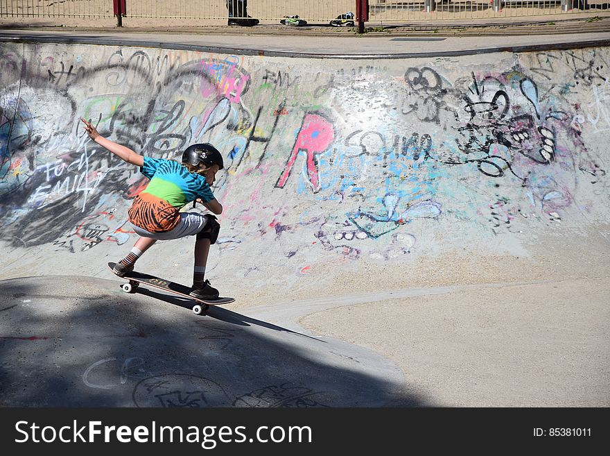 Skater in skatepark