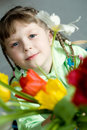 Free Girl With Tulips Royalty Free Stock Photography - 8544317