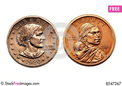Free American Dollar Coin Comparison Royalty Free Stock Photography - 8547267