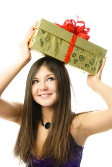 Free Pretty Girl With A Present Stock Photo - 8540070