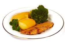Free Cutlet With Broccoli And Potatos Stock Image - 8540811