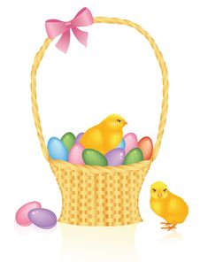 Free Basket With Eggs. Royalty Free Stock Images - 8540919