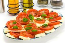 Fresh Salad With Tomato And Mozzarella Stock Photo